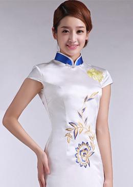 酒店迎宾制服旗袍式白色夏装