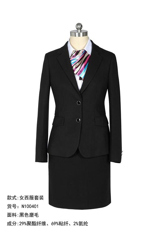 女西服套装+两粒扣+黑色磨毛