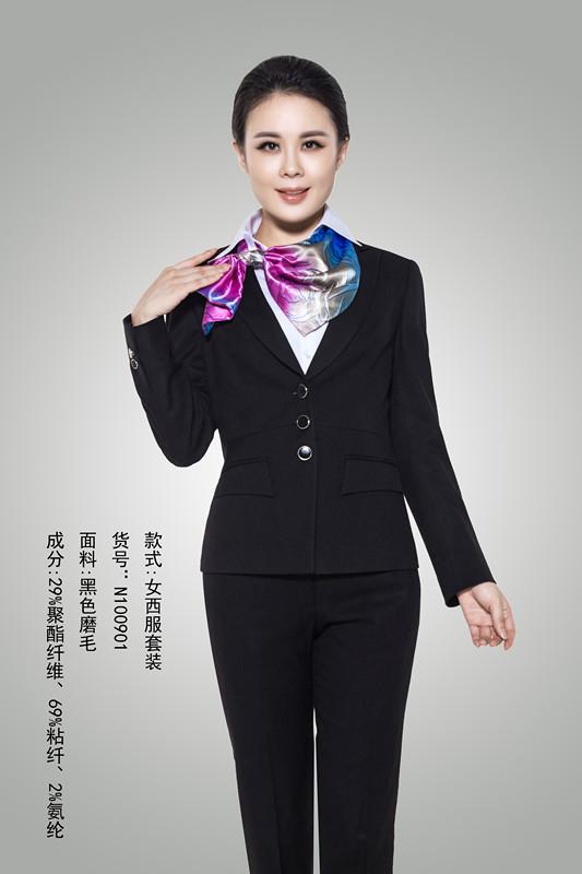 女西服套装+黑色磨毛